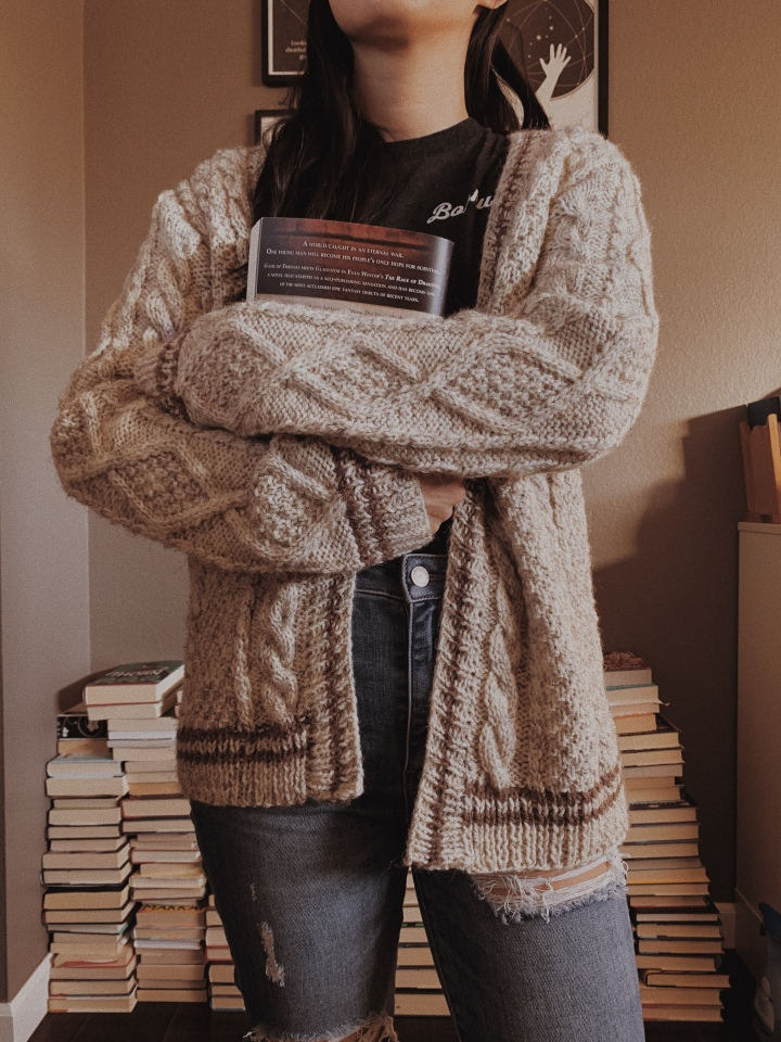 Reading and Knitting: big worlds, cabled sweaters, and TaylorSwift